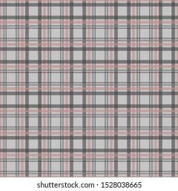 Scottish plaid fabric for print design. Scottish checkered background. Gray gingham seamless pattern. Pink checkered plaid seamless pattern. Red gingham pattern.