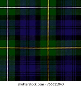 Scottish plaid in green, black, blue. Campbell of Argyll tartan seamless pattern