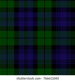 Scottish plaid in green, black, blue. Campbell tartan seamless pattern