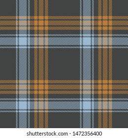 Scottish tartan check plaid pattern vector. Seamless in grey, blue, and orange brown plaid for scarf, poncho, blanket, throw, or other modern textile print.