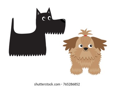 Scottish terrier black dog. Scottie puppy. Shih Tzu. Animal icon set. Cute cartoon character. Pet animal collection. Adopt concept. Flat design. White background. Isolated. Vector illustration
