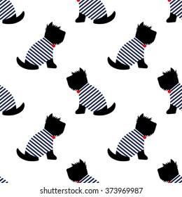 Scottish terrier in a sailor t-shirt seamless pattern. Sitting dogs on white background illustration. Child drawing style puppy background. French style dressed dog with red medal and striped frock.