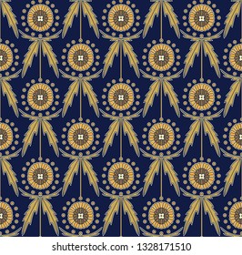 Scottish Thistle Onopordum acanthium. Eryngium planum Blue Sea Holly Vector seamless decorative pattern. Art Nouveau floral texture. Suitable for cosmetics, medical packaging, labels, fabrics, prints