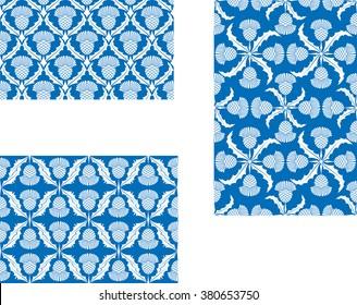 Scottish Thistle Seamless Vector Patterns Set of Three