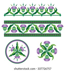 Scottish Thistle Vector Borders and Ornaments