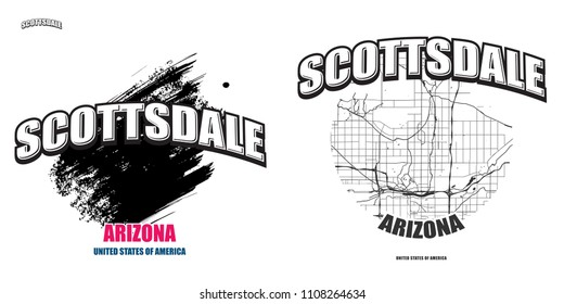 Scottsdale, Arizona, logo design. Two in one vector arts. Big logo with vintage letters with nice colored background and one-color-version with map for every possible print production.