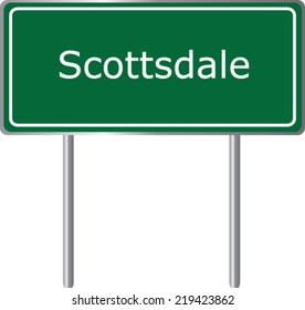 Scottsdale, Arizona, road sign green vector illustration, USA city