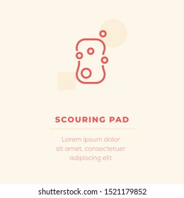 Scouring Pad Single Line Icon on Ivory Background