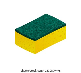 Scouring pads spong for housework cleaning and scouring pad domestic spong work tools. Vector stock illustration.