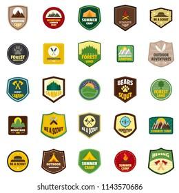 Scout badge emblem stamp icons set. Flat illustration of 25 scout badge emblem stamp vector icons isolated on white