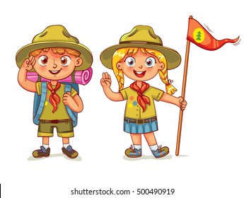 Scout boy and scout girl. Scout honor hand gesture. Children scout people adventure camping. Hiking recreation tourist group. Vector illustration. Funny cartoon character. Isolated on white background