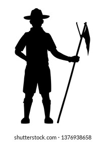 Scout boy silhouette vector