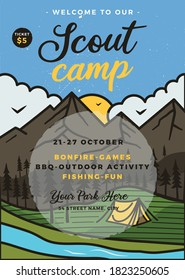 Scout camp flyer A4 format. Camping Adventure poster graphic design with outdoor mountains, forest trees and text. Stock vector retro card