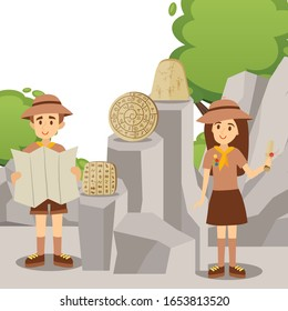 Scout leaders presenting historic artifacts of ancient civilization, vector illustration. Man and woman people cartoon characters, archeological artifact discovery, stone plate with hieroglyph symbols