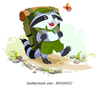Scout raccoon with backpack goes camping