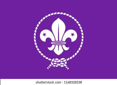 Scout symbol. Scout original flag. Scout badge.