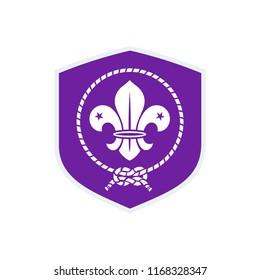 Scout symbol. Scout shield flag. Scout badge.