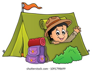 Scout in tent theme image 1 - eps10 vector illustration.