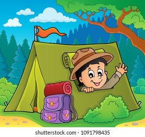 Scout in tent theme image 3 - eps10 vector illustration.