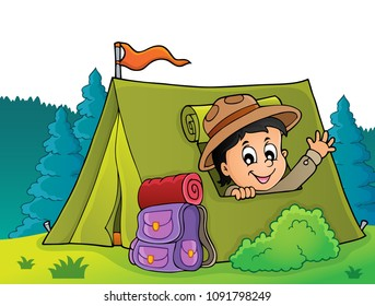 Scout in tent theme image 4 - eps10 vector illustration.