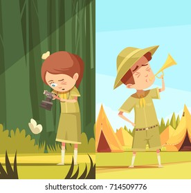 Scouting boys summer camp activities 2 retro cartoon vertical banners set with horn blowing isolated vector illustration