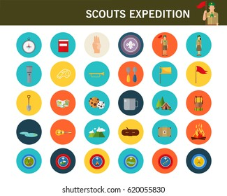 scouts expedition concept flat icons.