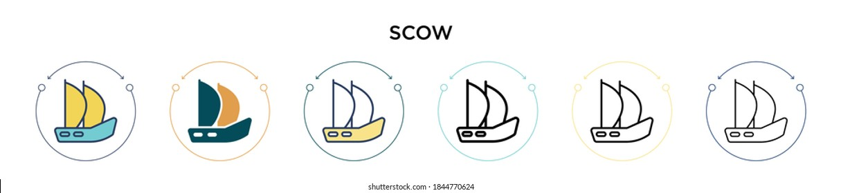 Scow icon in filled, thin line, outline and stroke style. Vector illustration of two colored and black scow vector icons designs can be used for mobile, ui, web