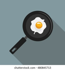 Scrambled eggs flat icon with long shadow for web and mobile applications. It can be used as - logo, pictogram, infographic element. Vector Illustration