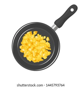 Scrambled eggs in frying pan isolated on white background. Omelet in a skillet. Top view. Vector illustration of tasty homemade breakfast in cartoon flat simple style.