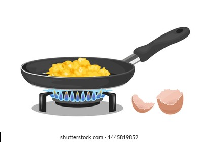 Scrambled eggs in frying pan on gas stove isolated on white background.. Vector illustration of omelet and eggshell in cartoon simple style. Delicious homemade breakfast. Lighted Gas Burner.