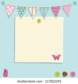 Scrap book background with bunting, torn paper and buttons