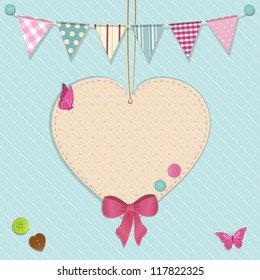 Scrap book background with hanging heart, bunting and buttons