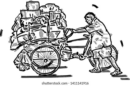 A scrap collecter pushing his old tricycle. Hand drawn vector illustration.
