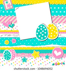 Scrap easter card with stickers of eggs, stars,hearts in punchy pastels, scrapbooking template
