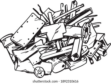 Scrap metal illustration isolated on white background