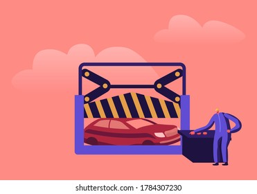 Scrap Metal Utilization and Recycling Industry or Business Concept. Mechanic Male Character Working on Scrapyard Pressing Old Crashed Cars on Special Extruding Equipment. Cartoon Vector Illustration