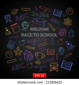 Scrap set Back to school on blackboard,with:hat graduate, scroll, apple, books, flasks, basketball, alarm clock, briefcase, backpack, school bus, globe, ruler ,microscope