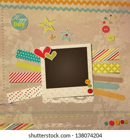 Scrap template with photo frame, vintage design