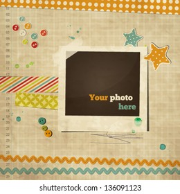 Scrap template of vintage worn distressed design with photo frame and other elements