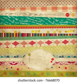 Scrap template of vintage worn distressed design with blank space for your text