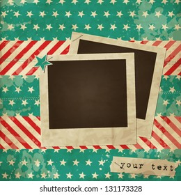 Scrap vintage card with photo frame, American flag vintage card with stars and stripes