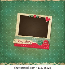 Scrap vintage love card with photo frame and buttons
