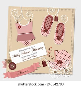 Scrapbook Baby shower invitation template vector illustration, happy birthday card for newborn baby girl with a pink vintage stroller, ribbons and scrap book elements