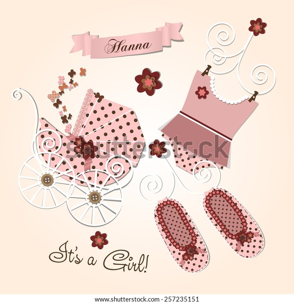 photo relating to Baby Girl Clip Art Free Printable called Sbook Youngster Shower Invitation Template Vector Inventory