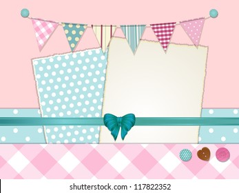 Scrapbook background with torn paper, bunting, ribbon and buttons