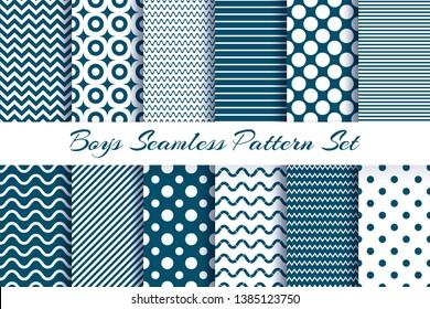 Scrapbook boy pattern set. Blue masculine baby newborn boys striped print invitation card or frames vector fashion seamless patterns