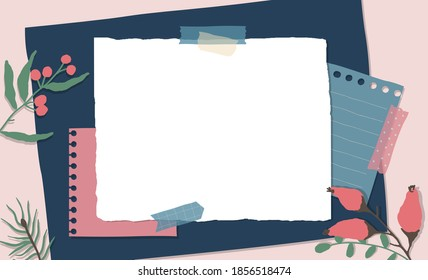 Scrapbook composition with notes paper, tapes, flowers elements and photo frame. Page for stories in winter style. Vector illustration