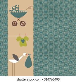 Scrapbook design elements. Baby boy announcement card. Baby shower design elements.
