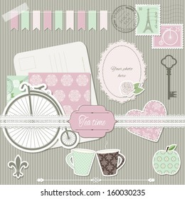 Scrapbook design elements collection - postcard, stamps, paper cut heart, rose, retro bike, cups, apple, key, photo frame, lace,  elegant pattern background. Easy to use.