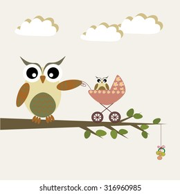 Scrapbook design elements with cute owls. Baby announcement card. Baby shower design elements.
